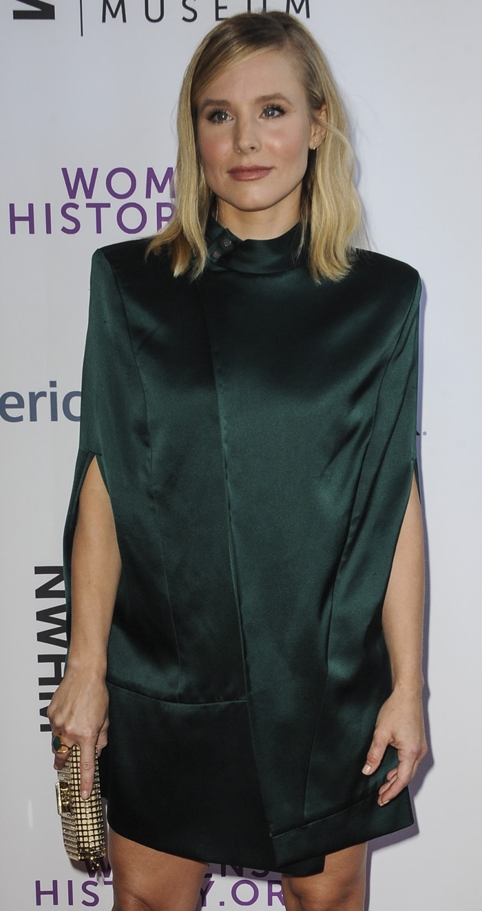 Kristen Bell looks like a poorly wrapped Christmas gift at the National Women's History Museum's 2018 Women Making History Awards