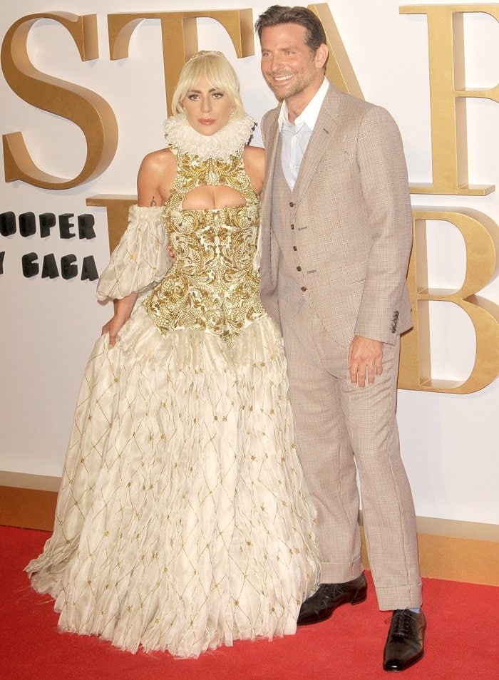 Lady Gaga andBradley Cooper at the UK premiere of their anticipated film A Star Is Born held at Vue West End in Leicester Square in London, England, on September 27, 2018