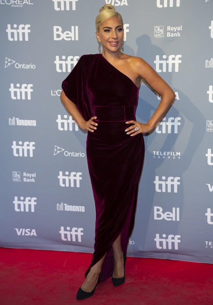 Lady Gaga rocks black pointy-toe Gianvito Rossi stiletto heels