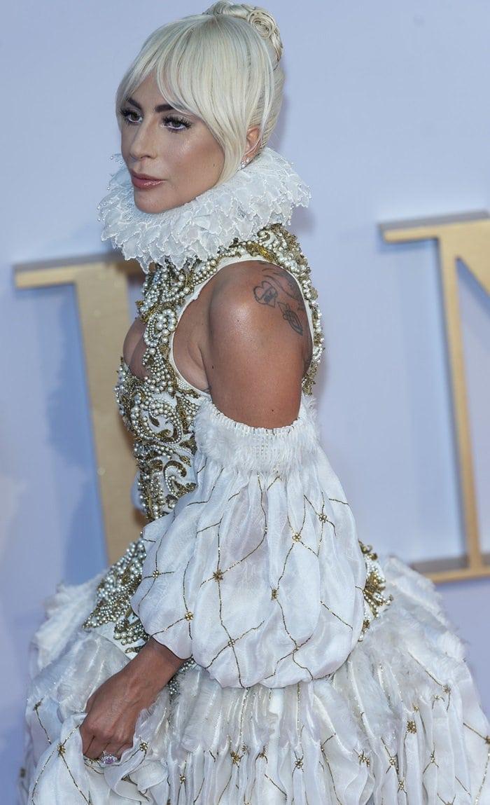 Lady Gaga's dramaticSarah Burton-designed Alexander McQueen gown