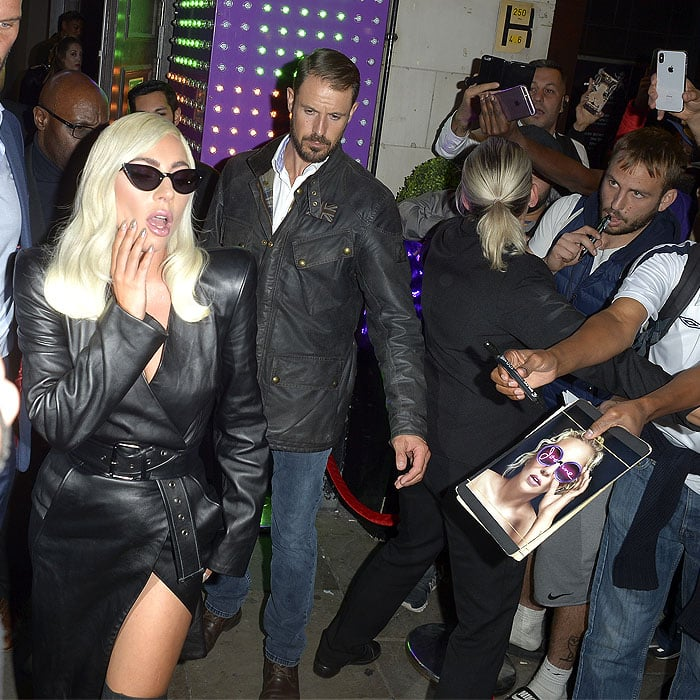 Lady Gaga greeting fans and paparazzi