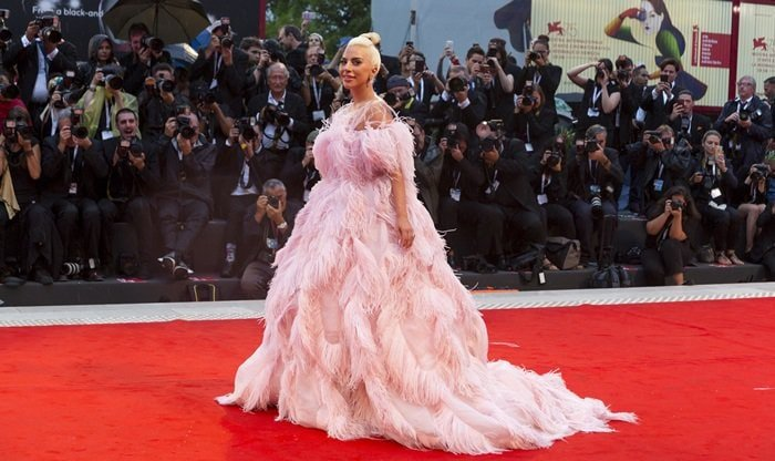 Lady Gaga in a stunning feathered gown at the premiere screening of 'A Star Is Born' held during the 2018 Venice Film Festival at Sala Grande in Venice, Italy, on August 31, 2018