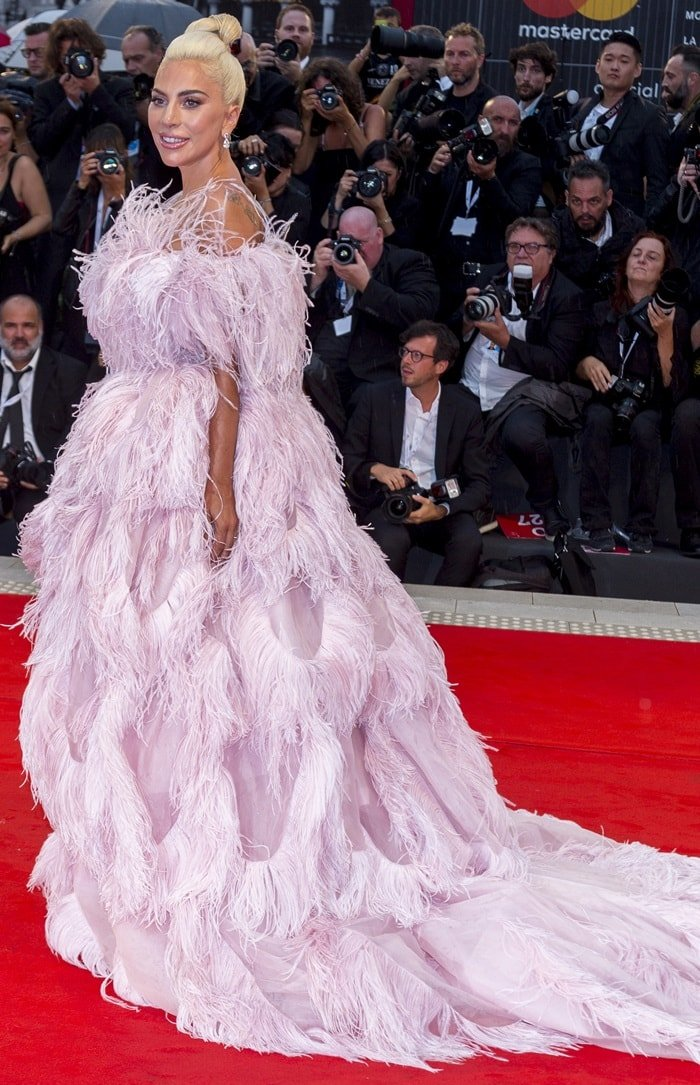 Lady Gaga's unforgettable gown was styled with Chopard jewelry and an elegant updo