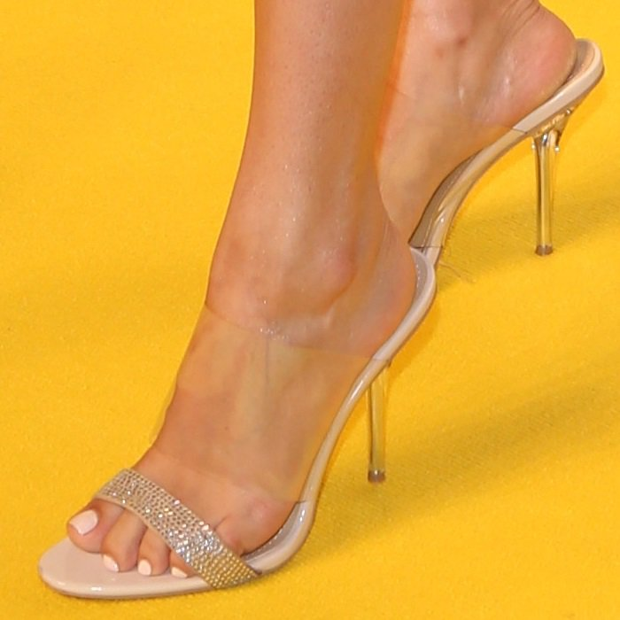 Lauren Jauregui showing off her feet in nude perspex stiletto heels
