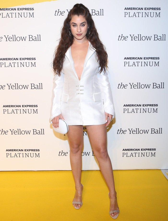 Lauren Jauregui shows off her stunning legs at the Yellow Ball at the Brooklyn Museum in New York City on September 10, 2018