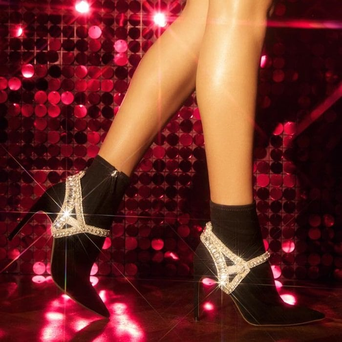 Lorena Crystal-Embellished Stretch-Suede Sock Boots