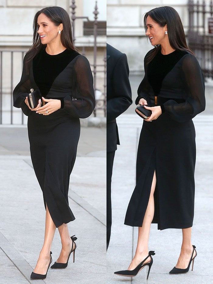Meghan Markle in a Givenchy sheer-sleeved velvet-paneled dress and Aquazzura 'Deneuve' pumps.