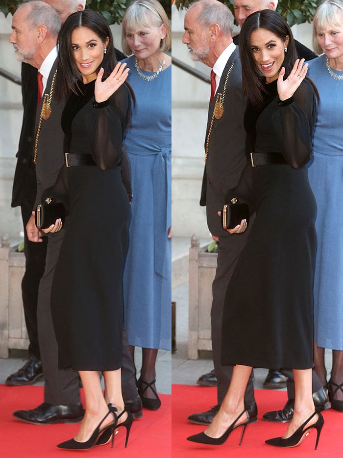 Meghan Markle in her favorite Aquazzura 'Deneuve' black-suede pumps.
