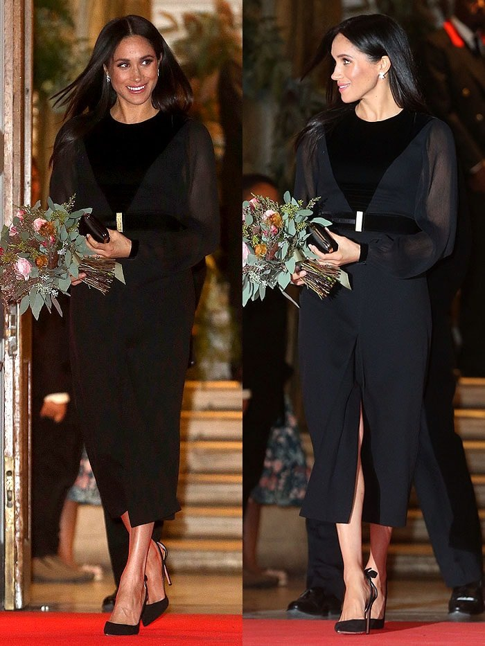 "Meghan Markle, Duchess of Sussex, departing the ""Oceania"" Exhibition at the Royal Academy of Arts in London, England, on September 25, 2018."