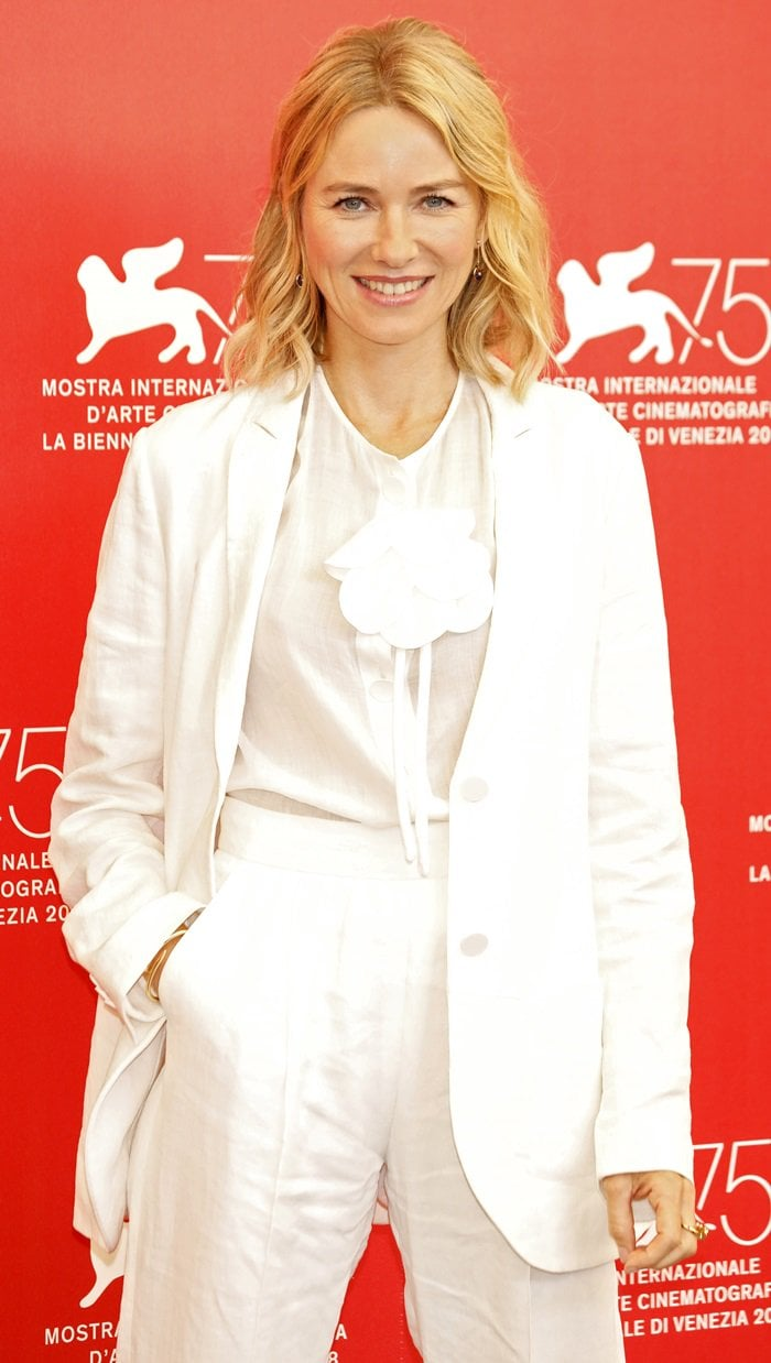 Naomi Watts looked chic and sophisticated while attending the official Jury photocall held during the 2018 Venice Film Festival at Sala Casino in Venice, Italy, on August 29, 2018