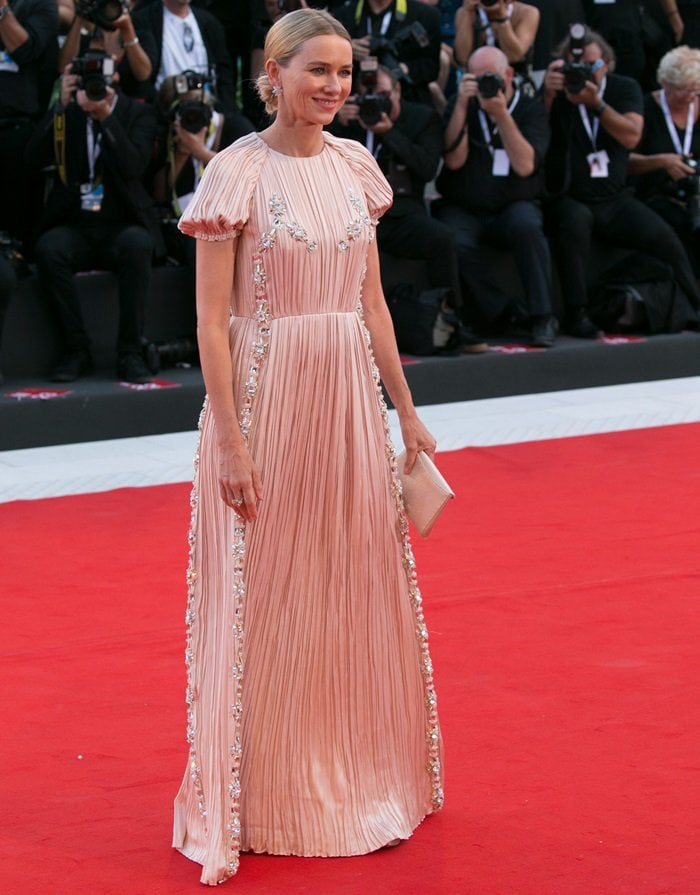 Naomi Watts in a custom Prada crystal-embellished gown
