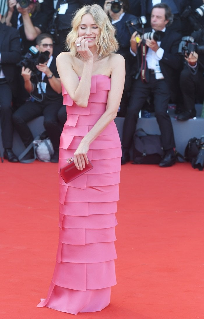 Naomi Watts in a strapless tiered gown from the Armani Privé Fall 2018 Couture Collection