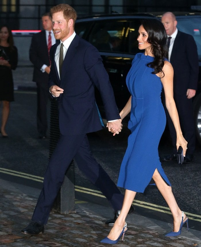Meghan Markle wearing Portrait of Lady sling pumps in admiral blue by Aquazzura