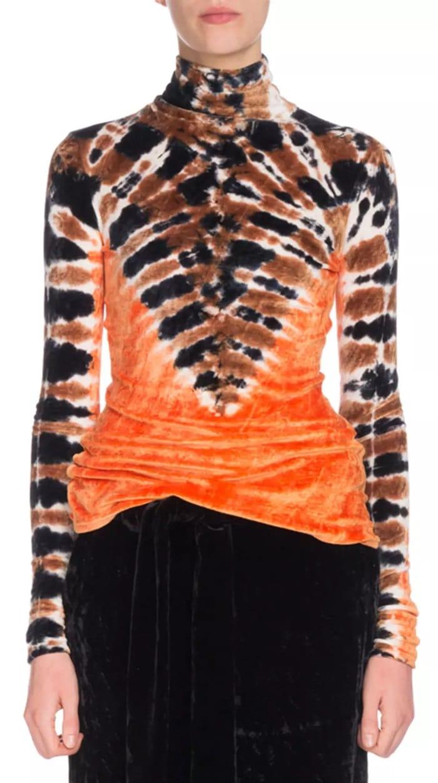Proenza Schouler Turtleneck Long-Sleeve Tie-Dye Degrade Velvet Top