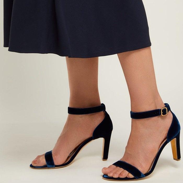 Rupert Sanderson Barri Block-Heel Velvet Sandals