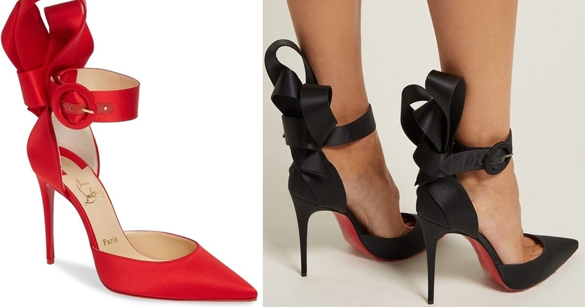 02ac988e697 Raissa Bow Ankle Strap Pumps by Christian Louboutin in Black   Red