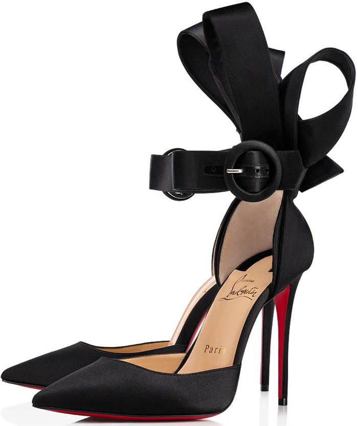 Black satin lends an elegant twist to Christian Louboutin's Raissa 100 pumps