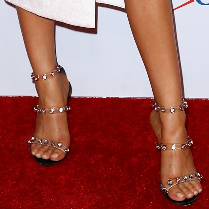 Sarah Hyland shows off her sexy feet in elegant 'Rosalind' gem sandals from Sophia Webster
