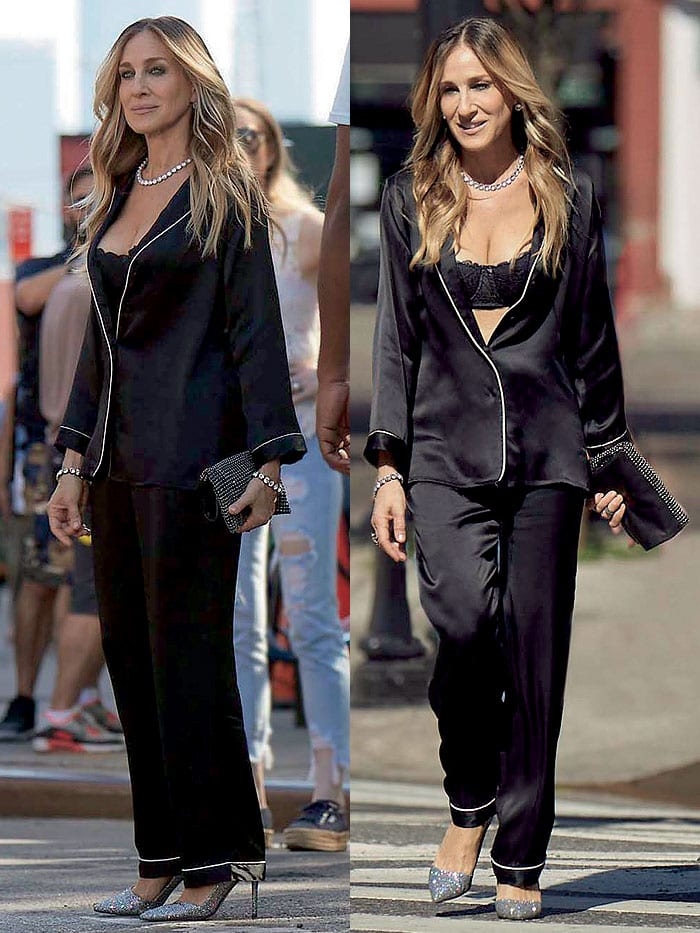 Sarah Jessica Parker shooting scenes for Intimissimi's Fall/Winter 2018 TV ad campaign around Manhattan in a balconette bra and silk pajama set from the Italian lingerie and underwear label