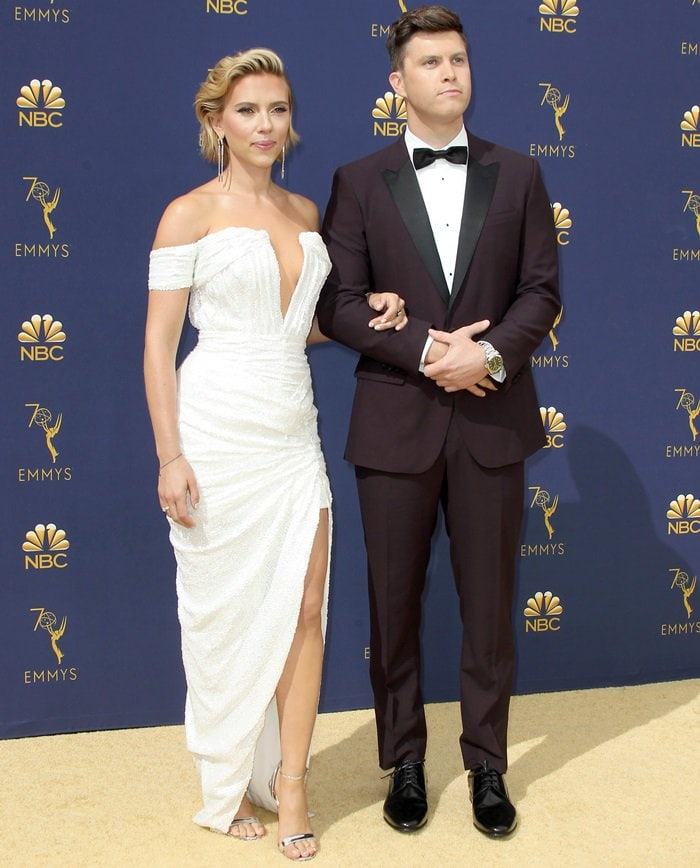 Scarlett Johansson and Colin Jost walked the red carpet together at the 2018 Emmy Awards held at the Microsoft Theater in Los Angeles on September 17, 2018