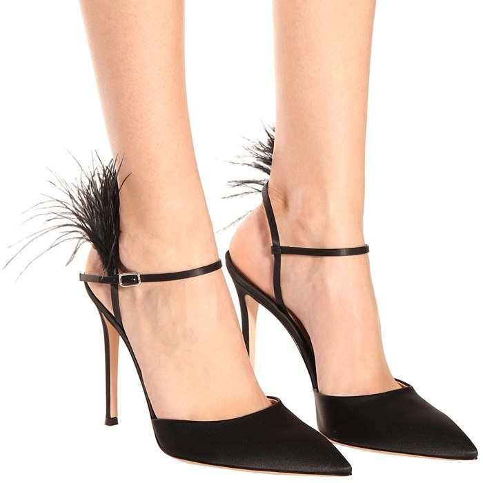 Simone Feather-Trimmed Satin Pumps