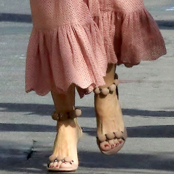 Sofia Vergara's feet in Alaia 'Bombe' studded suede sandals