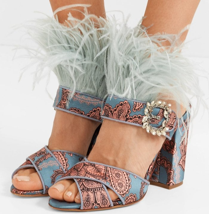 Blue Reyner Embellished Printed Satin Sandals