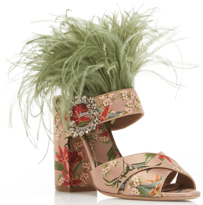 Pink Reyner Embellished Printed Satin Sandals