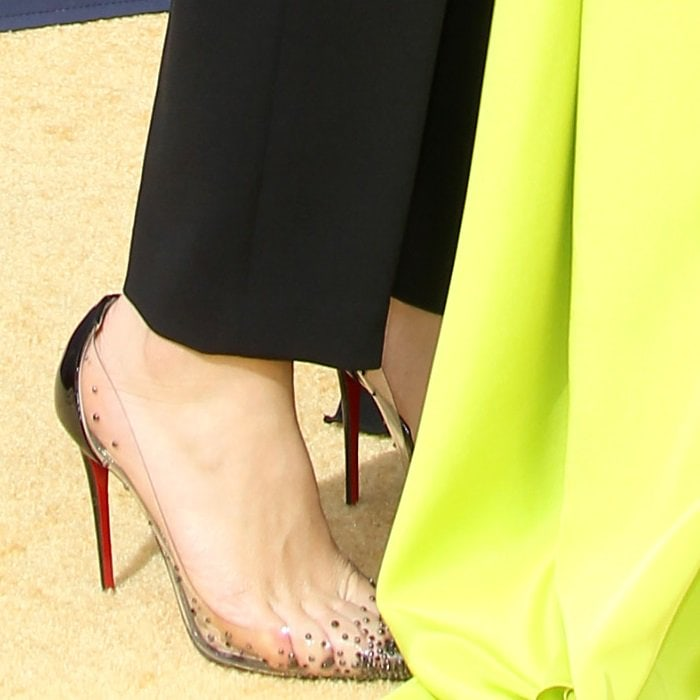 Tatiana Maslany shows off her hot feet inDegrastrass crystal-embellished pumps