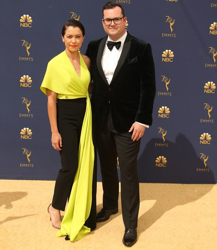 Tatiana Maslany and Kristian Bruunat the 2018 Emmy Awards held at the Microsoft Theater in Los Angeles on September 17, 2018