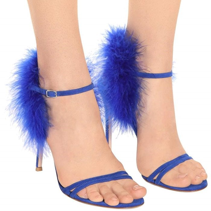 Thais Feather-Trimmed Suede Sandals