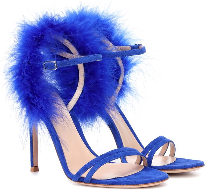Crafted from cobalt blue suede, these statement-making shoes are the perfect partners for nights spent on the town
