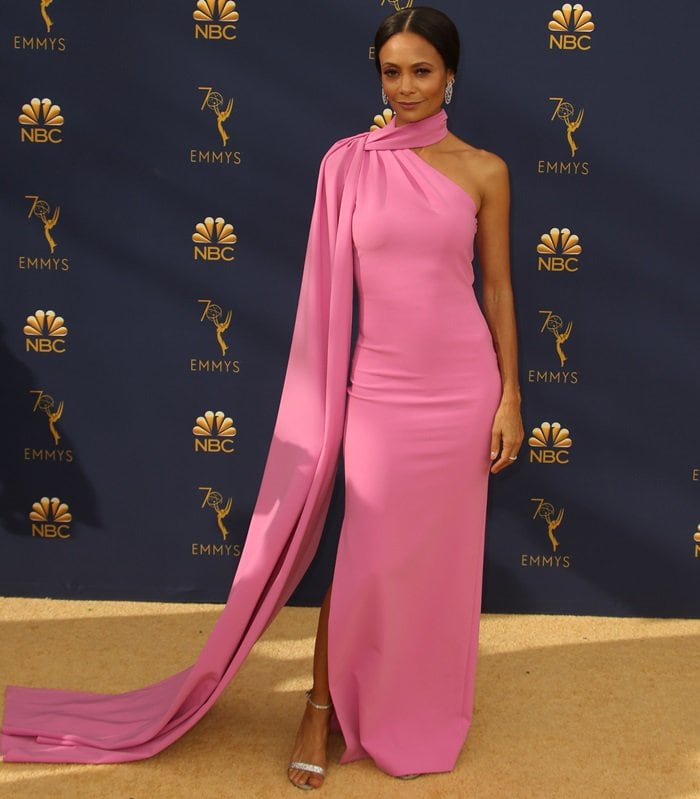 Thandie Newton in a pink crepe caped halter gown at the 2018 Emmy Awards held at the Microsoft Theater in Los Angeles on September 17, 2018
