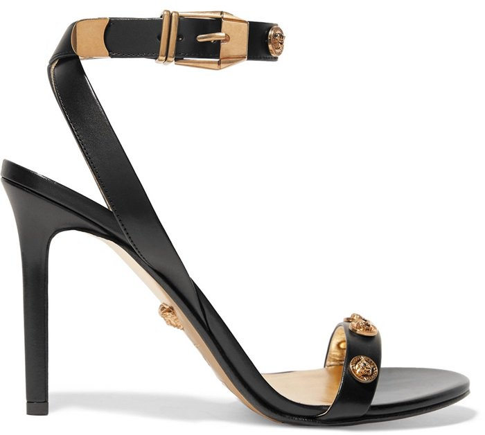 Black Leather Versace Embellished Leather Sandals