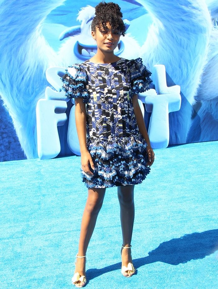 Yara Shahidiflaunting her killer legs at the premiere of Smallfoot at the Regency Village Theatre in Westwood, California, on September 22, 2018
