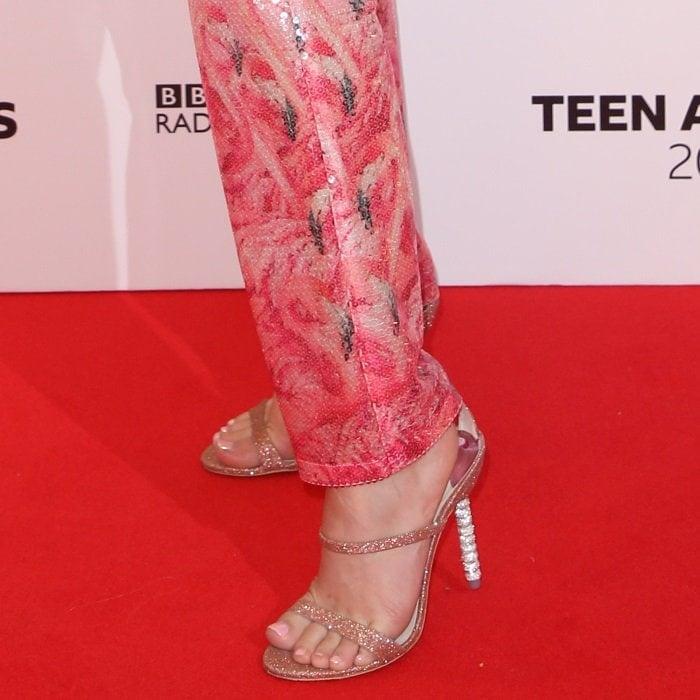 Zara Larsson shows off her feet inRosalind Gem sandals