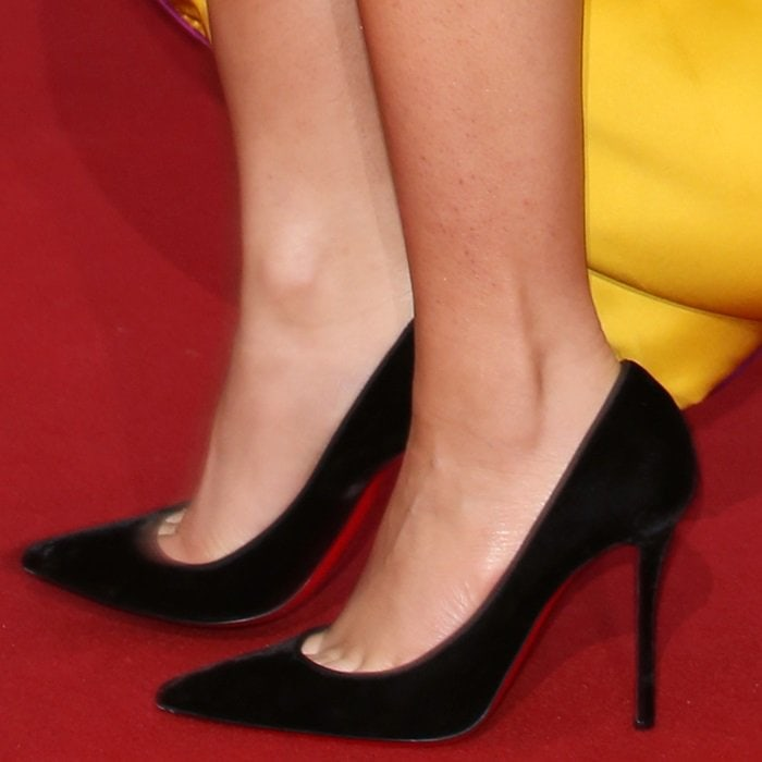 Zendaya shows off her feet in black pointy-toe Christian Louboutin 'Pigalle Follies' pumps