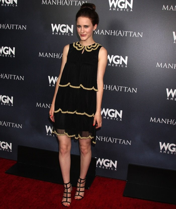 "Actress Rachel Brosnahan flaunts her legs in a black dress at WGN America's ""Manhattan"" Panel during"