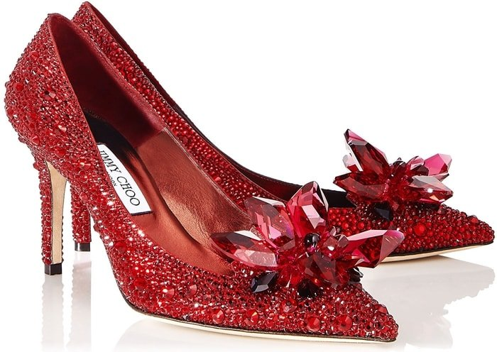 ALIA Red Crystal Covered Pointy Toe Pumps