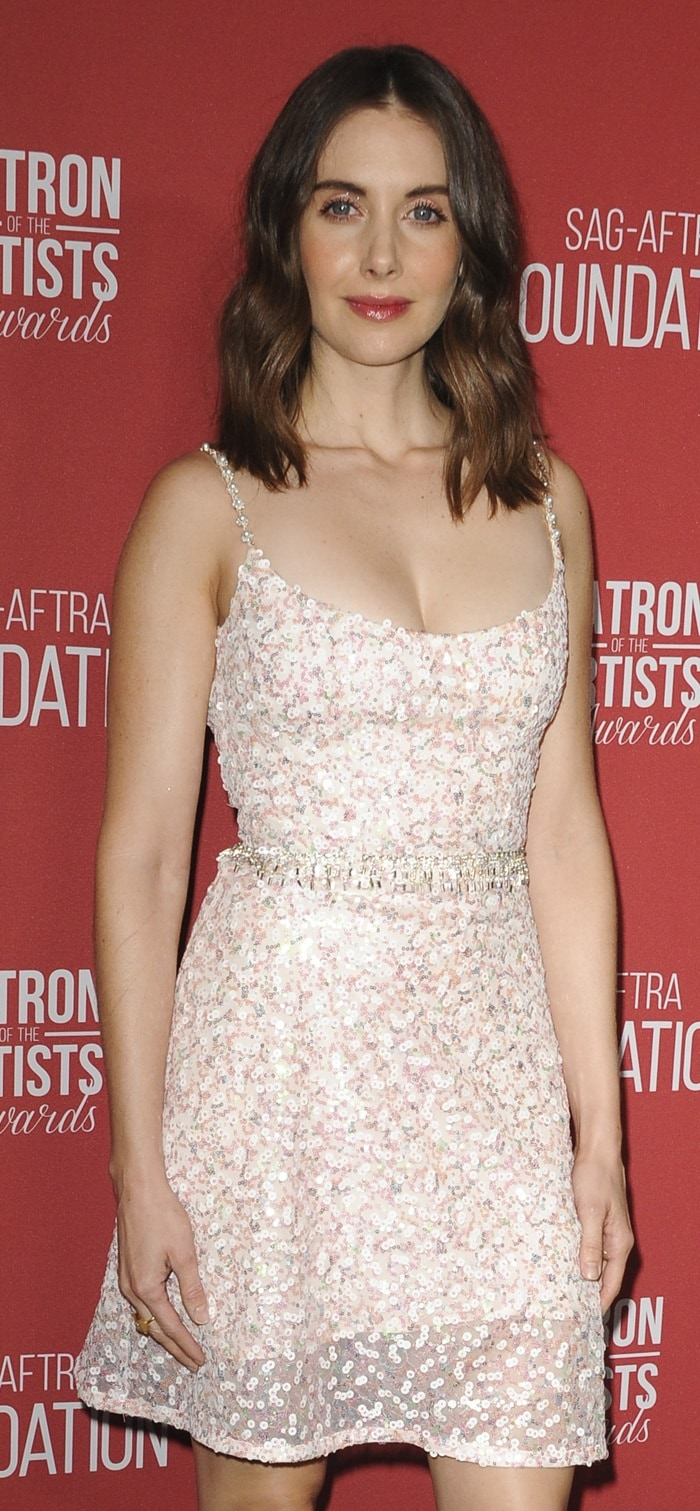 Alison Brie wearing a summery dress from the Markarian Spring 2019 Collection