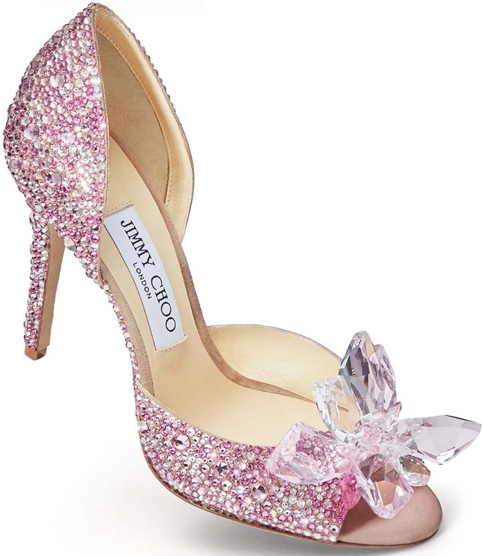 ANILLA 100 Rose Mix Suede and Crystal Covered Open Toe Pumps