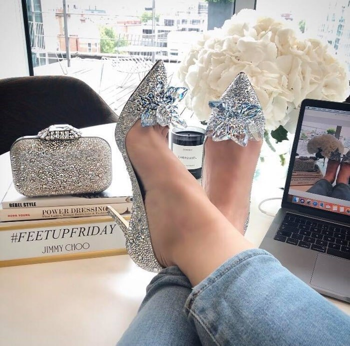Ari crystal-covered pointy-toe pumps