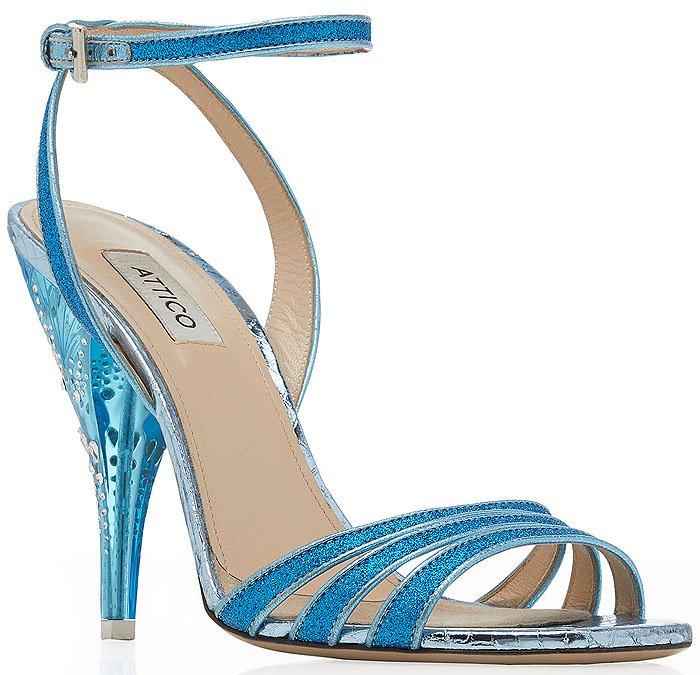 Attico Lola Crystal-Embellished-Heel Blue-Glitter Sandals