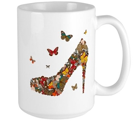 This unique design features a high heel shoe made completely from butterflies
