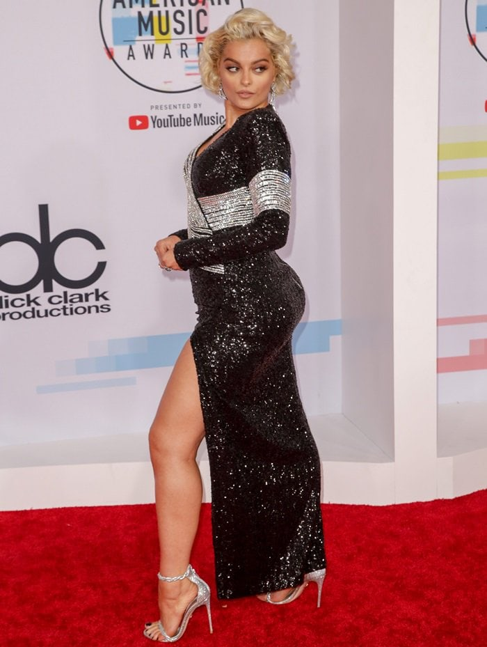 Bebe Rexha flaunts her sensual legs in a sequined gown by Balmain