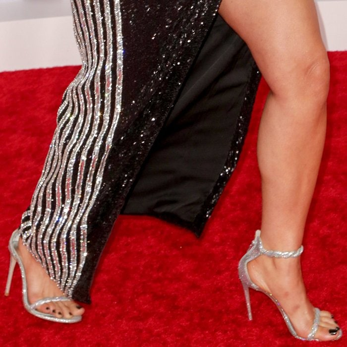 Bebe Rexha shows off her feet in silver Gwen sandals by Le Silla