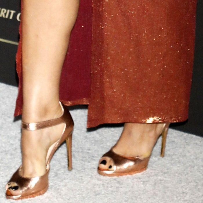 Bebe Rexha put her sexy feet on display in Rupert Sanderson shoes