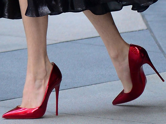 Metallic-red Christian Louboutin 'So Kate' pumps on Bella Thorne