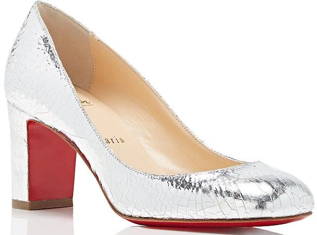 These silver craquelé leather pumps are styled with a rounded square toe and thick heel