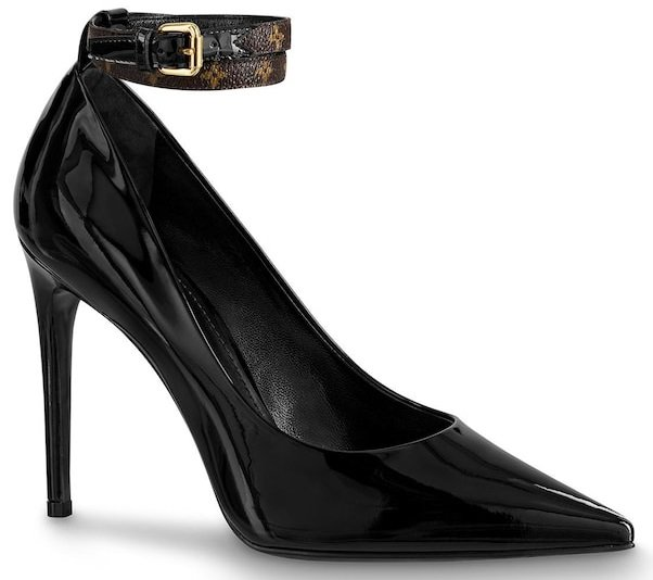 The Call Back pump in glossy patent calf leather is an elegant style with a high stiletto heel